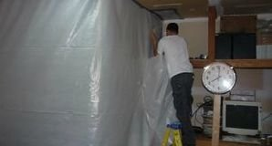 Vapor Barrier Being Used To Contain Mold Spores
